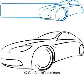 autó, vektor, tervezés