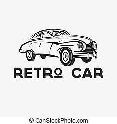 autó, vektor, tervezés, retro, sablon