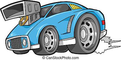 autó, vektor, utca, jármű