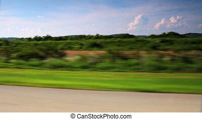 autó, vezetés, át, vidéki táj