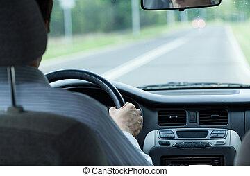 autó, vezetés, ember