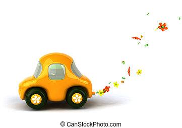 autó, virág nagy