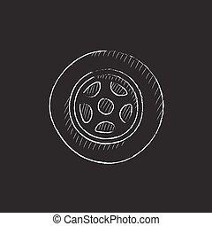 autó, wheel., húzott, alatt, kréta, icon.