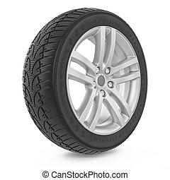 autó, wheel., tél, autógumi