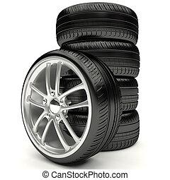 autó, wheels., felszerelés