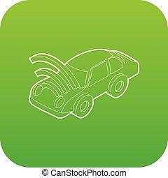 autó, wifi, aláír, vektor, zöld, ikon