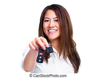 autó woman, ázsiai, key.