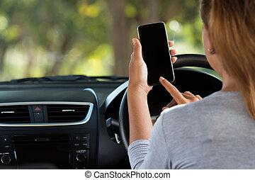 autó woman, út, használ, telefon