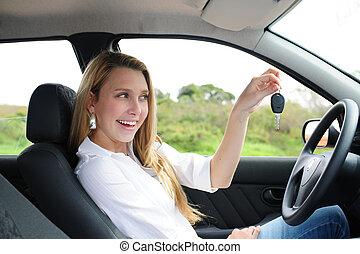autó woman, birtok, kulcs, boldog