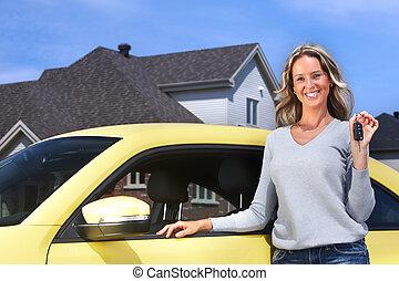 autó woman, fiatal, key.