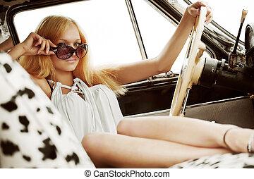 autó woman, fiatal, retro