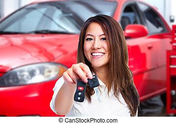 autó woman, key., birtok