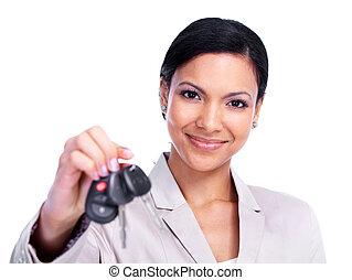 autó woman, key.