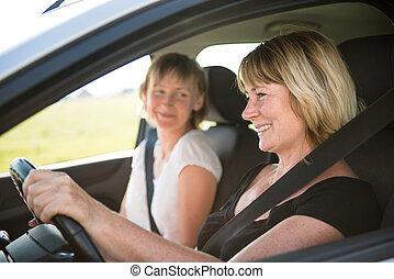 autó woman, lány, érett, vezetés