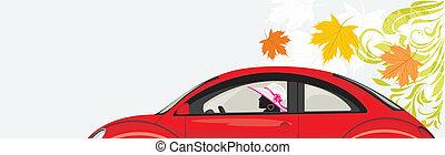 autó woman, vezetés, piros