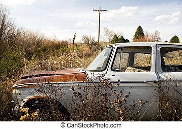 autó, wyoming, elhagyatott