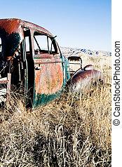 autó, wyoming, elhagyatott, vidéki