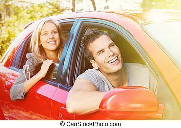 autó, young emberek