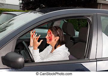 autóbaleset, pánik
