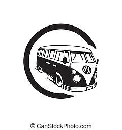 autóbusz, ábra, volkswagen, árnykép, szüret, vektor, háttér, furgon