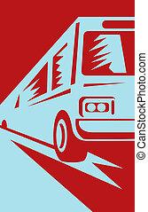autóbusz busz, érkező, feláll, felé, a, néző
