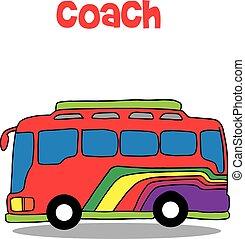 autóbusz busz, vektor, művészet, karikatúra
