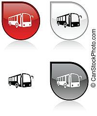 autóbusz, button.