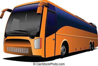 autóbusz, c-hang, narancs, road., természetjáró
