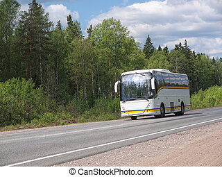 autóbusz, fehér, természetjáró, autóút, ország