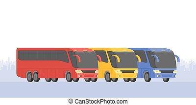 autóbusz, három, ábra, vektor, sarok, út, kilátás
