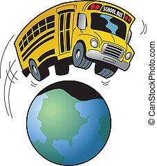 autóbusz, iskola út, mező