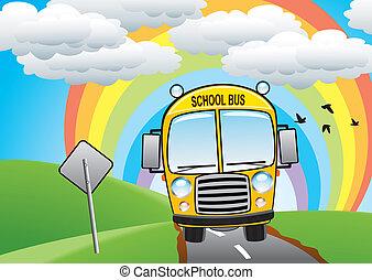 autóbusz, izbogis, vektor, út, sárga