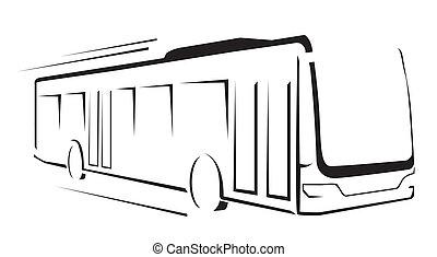 autóbusz, jelkép, vektor, ábra