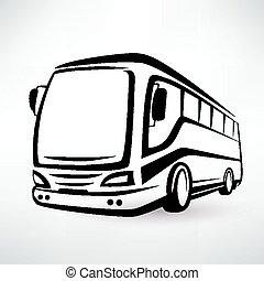 autóbusz, körvonalazott, modern, jelkép, vektor, ikon