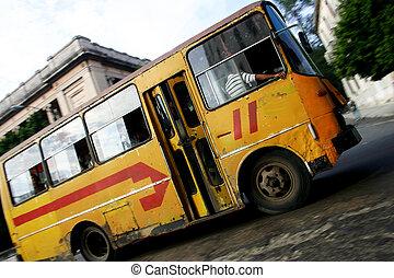 autóbusz, közönség, habana