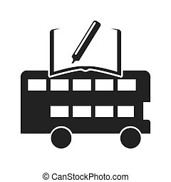 autóbusz, london, tanulás, ikon