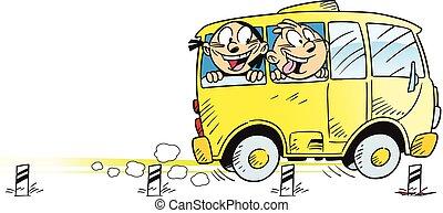 autóbusz, lovagol, gyerekek