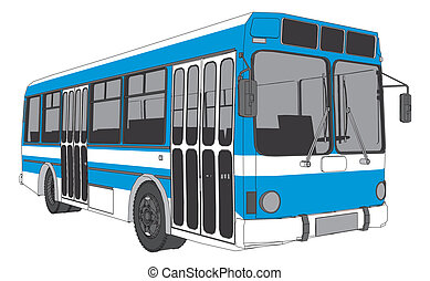 autóbusz, modern, város