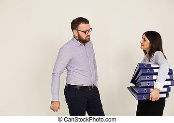 autóbusz, tasking, főnök, és, nő