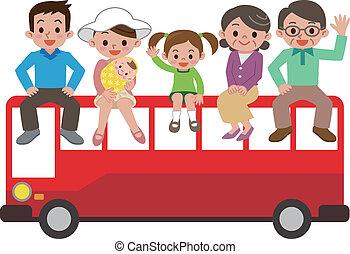 autóbusz, természetjáró, család, boldog