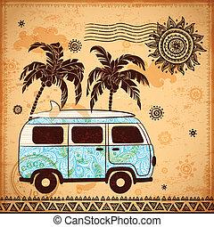 autóbusz, utazás, retro, háttér, szüret