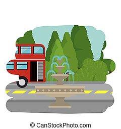 autóbusz, utca, london, színhely