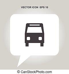 autóbusz, vektor, ikon