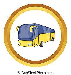 autóbusz, vektor, természetjáró, sárga, ikon