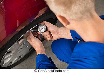 autógumi, egyszintű, átvizsgálás, autó, légnyomás, szerelő