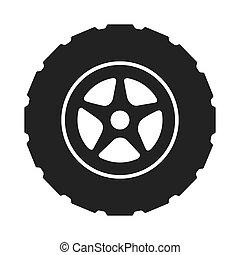 autógumi, gördít, autó, abroncs, vektor, grafikus, ikon