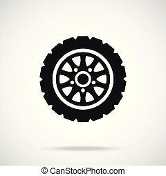 autógumi, icon., autó, wheel., vektor, ikon