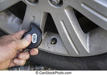 autógumi, nyomásmérő, szerelő, digitális, használ