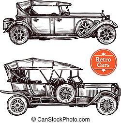autók, állhatatos, retro