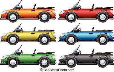 autók, átváltható, hat, befest